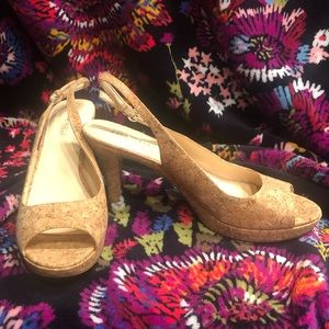 NINE WEST 8.5 Cork sling back open toe heel shoes